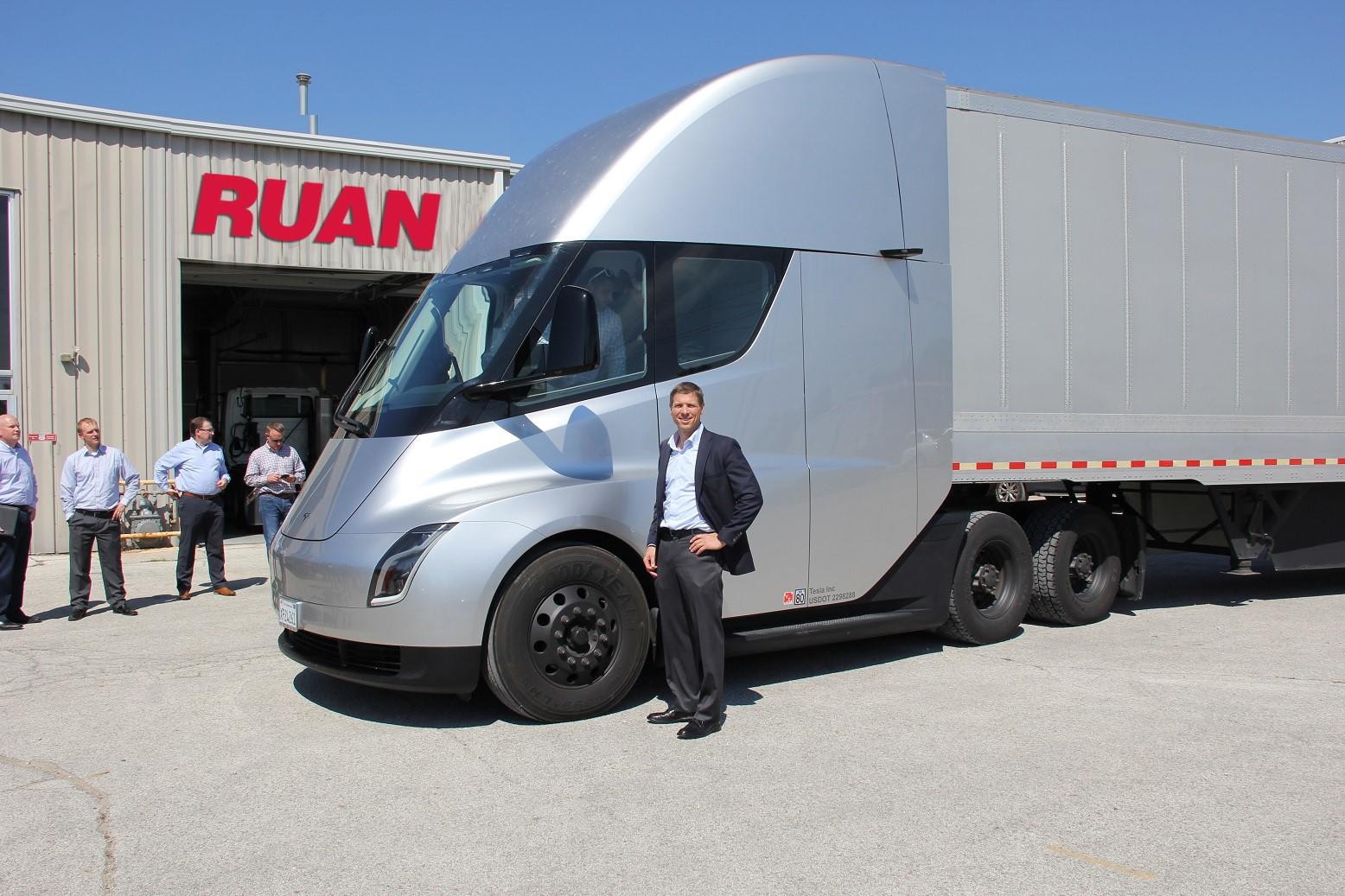 Ruan CEO with Tesla semi